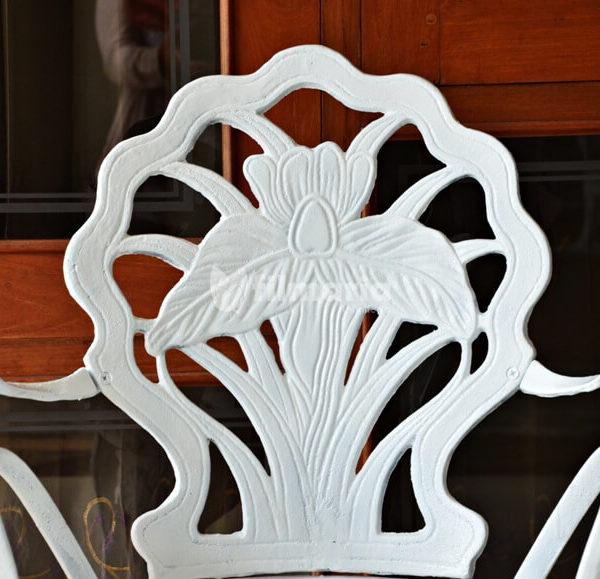 Detail sandaran kursi corvus set meja kursi cast iron
